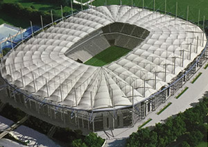 The new Hamburg Volksparkstadion after completion in July, 2000.