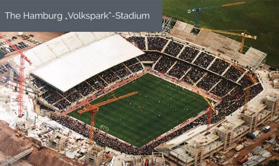 Das Hamburger Volksparkstadium mit 50.000 Sitzplätzen ist das erste in Deutschland, das privat finanziert und unter fortgesetztem Betrieb gebaut wurde. Das Projekt ist und war ein Modell für ähnliche Projekte in anderen Städten.